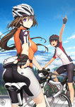 2girls :d arm_up ass bangs bicycle bicycle_helmet bike_jersey bike_shorts black_hair blue_sky bracelet breasts brown_hair chin_strap cloud cover day fanny_pack fingerless_gloves floating_hair from_behind gloves grey_hair ground_vehicle hair_between_eyes helmet jewelry kneepits light_smile long_hair long_riders_(doujin) looking_at_viewer looking_back low_ponytail medium_breasts multiple_girls nail_polish open_mouth outdoors outstretched_hand ponytail profile purple_eyes purple_hair red_eyes riding road shima_udon short_hair short_sleeves signature sky smile socks sportswear tree waving