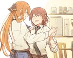 1boy 1girl apron bandages barista black_neckwear brown_hair cafe closed_eyes collared_shirt commander_(girls_frontline) commentary_request dancing denim girls_frontline hair_rings height_difference jeans long_hair long_sleeves m1903_springfield_(girls_frontline) necktie pants ponytail shirt sidelocks smile white_shirt xinhao