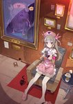 1girl >_< animal apron armband armchair bandaged_arm bandages bangs black_cat black_nails brick_wall bunny_hair_ornament cat center_frills chair character_name collared_shirt cup dutch_angle fingernails frills hair_ornament hat heart holding indoors light_brown_hair long_hair multicolored multicolored_nail_polish nail_polish natori_sana nurse_cap picture_frame pink_apron pink_footwear pink_hat pink_nails pleated_skirt puffy_short_sleeves puffy_sleeves purple_eyes sana_channel shirt short_sleeves sitting skirt slippers solo steam table tajima_ryuushi teacup thighhighs two_side_up very_long_hair virtual_youtuber white_legwear white_shirt white_skirt