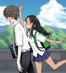 1boy 1girl 774_(nanashi) :d backpack bag belt black_hair black_pants blue_skirt blue_sky blurry blurry_background blush brown_eyes brown_hair cloud cloudy_sky commentary dark_skin day dress_shirt flying_sweatdrops from_side glasses grin hachiouji hair_ornament hairclip hand_up heavy_breathing ijiranaide_nagatoro-san long_hair nagatoro official_art open_mouth outdoors pants pleated_skirt profile school_uniform shirt short_sleeves shoulder_bag skirt sky smile standing standing_on_one_leg sweat walking wavy_mouth white_shirt