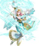 1girl arm_up bangs blonde_hair blue_dress blue_eyes book breasts dress earrings fingernails fire_emblem fire_emblem_heroes floating floating_object full_body fur_trim gradient gradient_hair gunnthra_(fire_emblem) hair_ornament highres jewelry long_dress long_hair long_sleeves maeshima_shigeki magic medium_breasts multicolored_hair official_art open_book open_mouth pink_hair snowflakes solo sparkle transparent_background veil white_footwear wide_sleeves