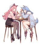 2girls ahoge animal_ear_fluff animal_ears animare bare_shoulders bat_ears belt black_skirt blue_eyes blue_hair blue_jacket blush bowl braid chair chopsticks commentary_request dog_ears dog_tail dress eating food_in_mouth frown full_body hair_ornament hairclip hat heart heart_hair_ornament high_heels highres holding holding_bowl holding_chopsticks jacket junwool long_hair medium_hair multiple_girls off-shoulder_sweater off_shoulder open_clothes open_jacket pantyhose pink_cardigan pink_dress pink_eyes pink_hair ribbon-trimmed_legwear ribbon_trim simple_background single_braid sitting sketch skirt sleeveless sleeveless_turtleneck socks souya_ichika sweater table tail tied_sleeves turtleneck umori_hinako very_long_hair virtual_youtuber white_background white_legwear wide_sleeves