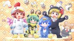4girls :3 :d animal_costume bear bear_costume bee bee_costume bird bird_wings blonde_hair blue_eyes blue_hair blush brown_eyes brown_hair chicken_costume cirno cosplay d:< fangs fireflies green_eyes green_hair highres insect matty_(zuwzi) multiple_girls mystia_lorelei mystia_lorelei_(bird) open_mouth penguin penguin_costume red_eyes rumia rumia_(cosplay) short_hair smile team_9 touhou wavy_mouth wings wriggle_nightbug