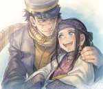 1boy 1girl :d ainu ainu_clothes asirpa bandana black_hair blue_eyes brown_eyes coat earrings facial_scar golden_kamuy hand_on_another's_shoulder hat hoop_earrings jewelry long_hair looking_at_another military military_hat military_uniform open_mouth scar scarf short_hair smile sugimoto_saichi uniform upper_body wide_sleeves yamori_(stom)