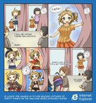0_0 2boys 2girls 4koma :> :q ;q => ahoge aizawa_inori alternate_costume amy_(suisei_no_gargantia) amy_(suisei_no_gargantia)_(cosplay) assassin's_creed bangs belt black_hair blue_eyes blunt_bangs brown_hair cape coat comic commentary cosplay curtains drill_hair elbow_gloves english ezio_auditore_da_firenze ezio_auditore_da_firenze_(cosplay) fingerless_gloves flower gloves grin hair_ornament hands_on_hips internet_explorer kantai_collection midriff miniskirt multiple_boys multiple_girls navel o_o one_eye_closed open_mouth os-tan parody parted_lips pleated_skirt scarf shimakaze_(kantai_collection) shimakaze_(kantai_collection)_(cosplay) shinon_(sao) shinon_(sao)_(cosplay) side_ponytail skirt smile star stopwatch suisei_no_gargantia sword_art_online tagme thighhighs tongue tongue_out watch white_legwear zettai_ryouiki |_|