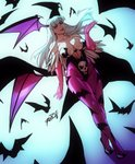 1girl animal_print bangs bat bat_print breasts cleavage commentary demon_girl dutch_angle elbow_gloves english_commentary eyebrows_visible_through_hair feather-trimmed_gloves full_body gloves green_eyes green_hair head_wings highres leotard lips low_wings morrigan_aensland pantyhose pink_gloves print_legwear purple_legwear robert_porter skull_print solo strapless strapless_leotard succubus vampire_(game) walking wings