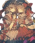 2girls ascot bat_wings blonde_hair bow brooch closed_eyes commentary_request crystal dress eyebrows_visible_through_hair fang flandre_scarlet frilled_shirt_collar frills grey_hair hand_up hat hat_bow highres jewelry mob_cap multiple_girls parted_lips pointy_ears puffy_short_sleeves puffy_sleeves red_bow red_dress red_eyes red_neckwear remilia_scarlet short_hair short_sleeves siblings side_ponytail simple_background sisters skirt_hold smile touhou white_background white_dress wings wiriam07 wrist_cuffs yellow_neckwear