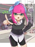 1girl aqua_eyes bangs bike_shorts blunt_bangs blush cardigan collared_shirt commentary domino_mask fangs hair_ornament hand_on_hip inkling leaning_forward long_hair long_sleeves mask open_mouth outdoors pink_hair pointing pointing_at_viewer pointy_ears road shirt sidelocks solo splatoon street takeko_spla tears tsundere