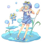 1girl ^_^ blue_clothes blue_hair blue_shoes blush_stickers bubble cattail closed_eyes froakie full_body goggles_on_hat icywood jumping long_hair mary_janes open_mouth outdoors personification plant pointing pointing_at_self pokemon pokemon_(creature) shoes smile standing water yellow_eyes