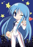 1girl ;) bangs blue_eyes blue_hair blue_shirt blush bodysuit breasts commentary_request copyright_request eyebrows_visible_through_hair hair_between_eyes hand_up heart holding long_hair looking_at_viewer medium_breasts night night_sky one_eye_closed osaragi_mitama partially_unzipped shirt sky smile solo star v very_long_hair white_bodysuit zipper_pull_tab