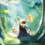 1girl ahoge blonde_hair blue_eyes blue_hair bow brown_footwear brown_headwear cloak day elements fairy fantasy fins fire flame floating forest from_behind full_body green_hair hat light_rays long_hair long_sleeves lowres mermaid monster_girl moss nature original outdoors outstretched_arm plant pobii red_bow scarf scenery shoes sitting sitting_on_tree_stump sunbeam sunlight tokiame tree tree_stump water water_drop wavy_hair white_scarf wide_sleeves wizard_hat