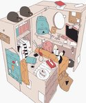 1girl backpack bag book cake cellphone clothes colored couch daisukerichard drawer food hat headphones indoors monitor original paper phone pink_hair reading school_uniform shelf smartphone tissue_box white_background