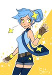 1girl ake-tan bag blue_hair blue_legwear denim denim_shorts fingerless_gloves gloves personification pokemon satchel shinx shorts solo star thighhighs waving yellow_eyes