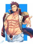 1boy abs bara beard blue_eyes blush brown_hair chest commentary_request epaulettes facial_hair fate/grand_order fate_(series) highres long_sleeves looking_at_viewer male_focus male_pubic_hair muscle napoleon_bonaparte_(fate/grand_order) nipples pants pectorals penis penis_peek pubic_hair scar shirtless smile solo tptptpn