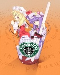 2girls bad_id bad_pixiv_id blonde_hair commentary cup fang flandre_scarlet hat in_container in_cup kurokuro long_hair minigirl multiple_girls patchouli_knowledge ponytail product_placement pun purple_eyes purple_hair red_eyes short_hair side_ponytail starbucks touhou wings
