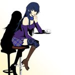 1girl bar_stool blue_eyes blue_hair blue_legwear boots chin_rest commentary cosplay cup dh_(brink_of_memories) female_protagonist_(persona_3) female_protagonist_(persona_3)_(cosplay) hair_between_eyes highres long_hair off_shoulder official_style persona persona_3 persona_3_portable persona_4 persona_x_detective plaid plaid_skirt shadow shirogane_naoto signature sitting skirt solo sweater teacup thighhighs