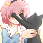 1girl animal black_cat blue_shirt blush cat cat_focus covering_another's_eyes covering_eyes eye_poke eyebrows_visible_through_hair gradient gradient_background hairband heart holding holding_animal kaenbyou_rin kaenbyou_rin_(cat) komeiji_satori pink_hair poking ran_(9ens2000) ribbon-trimmed_collar ribbon_trim shirt short_hair simple_background touhou upper_body white_background wide_sleeves