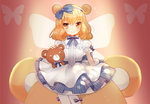 1girl animal_ears bangs bear_ears blonde_hair blue_bow blue_hairband blue_skirt blush bow butterfly butterfly_wings center_frills closed_mouth commentary eyebrows_visible_through_hair frills hair_between_eyes hair_bow hairband long_hair looking_at_viewer maodouzi orange_eyes original pantyhose puffy_short_sleeves puffy_sleeves purple_bow shirt short_sleeves sitting skirt smile solo striped striped_bow stuffed_animal stuffed_toy teddy_bear vertical-striped_skirt vertical_stripes white_legwear white_shirt wings