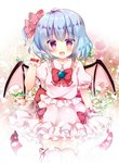 1girl :d ahoge arm_up bangs bat_wings blue_hair blush bow collared_shirt commentary_request eyebrows_visible_through_hair fang flower frilled_legwear frilled_shirt_collar frilled_skirt frills hair_between_eyes hair_bow hand_in_hair looking_at_viewer one_side_up open_mouth pink_legwear pink_shirt pink_skirt pink_wings puffy_short_sleeves puffy_sleeves red_bow red_eyes red_ribbon remilia_scarlet ribbon rikatan shirt short_sleeves skirt smile solo thighhighs touhou white_flower wings wrist_cuffs