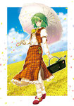 1girl ascot bottle brown_eyes carrying cloud field flower flower_field green_hair holding horizon izuna_nie kazami_yuuka looking_at_viewer mary_janes parasol petals picnic_basket shoes short_hair sky smile solo touhou umbrella