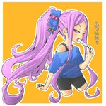 1girl alternate_costume alternate_hairstyle bike_shorts blue_bow blush bow breasts clothes_writing commentary_request cropped_legs curly_hair english fate/grand_order fate_(series) food hair_bow hand_up long_hair macbail off-shoulder_shirt open_mouth orange_background outline ponytail popsicle purple_eyes purple_hair shirt sidelocks small_breasts solo tank_top tied_shirt translated tsurime two-tone_background very_long_hair white_background white_outline wu_zetian_(fate/grand_order)