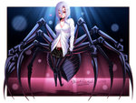 1girl ;) absurdres arachne artist_name belt black_skirt blacksaikou blush breasts carapace cleavage collarbone dress_shirt extra_eyes eyes_visible_through_hair full_body hair_between_eyes heart highres insect_girl large_breasts lips looking_at_viewer medium_hair mole mole_under_mouth monster_girl monster_musume_no_iru_nichijou one_eye_closed partially_unbuttoned rachnera_arachnera red_eyes shirt silver_hair skirt smile solo spider_girl white_shirt