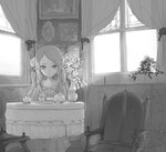1girl armchair chair closed_mouth commentary cup curtains doremi dress english_commentary flower greyscale indoors long_hair looking_at_viewer monochrome original plant portrait_(object) potted_plant sitting solo table teacup teapot vase window