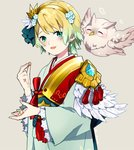 1girl bird blonde_hair blue_eyes blue_hair commentary_request earrings feather_trim feh_(fire_emblem_heroes) fire_emblem fire_emblem_heroes fjorm_(fire_emblem_heroes) flower gradient_hair grey_background guttary hair_flower hair_ornament japanese_clothes jewelry kimono long_sleeves multicolored_hair obi owl parted_lips sash short_hair simple_background upper_body wide_sleeves