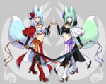 2girls animal_ears black_legwear blue_eyes blue_hair blush breasts cleavage closed_mouth eyebrows_visible_through_hair fox_ears fox_tail green_eyes green_hair high_heels highres holding holding_sword holding_weapon large_breasts long_hair looking_at_viewer multiple_girls navel original parted_lips sakura_chiyo_(konachi000) smile sword tail thighhighs weapon