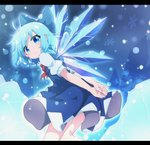 1girl :< ahoge arms_behind_back blue_bow blue_dress blue_eyes blue_hair bow cirno commentary_request do_(4-rt) dress from_side hair_bow highres ice ice_wings leaning_forward letterboxed looking_at_viewer medium_hair puffy_short_sleeves puffy_sleeves red_neckwear short_sleeves snowflakes solo touhou wings