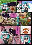 +_+ 3girls alternate_costume aori_(splatoon) aqua_eyes aqua_hair black_hair blush breasts cleavage closed_eyes comic commentary_request domino_mask drooling eating fangs food food_on_head fruit hair_ornament hat hat_removed headwear_removed highres hotaru_(splatoon) inkling long_hair mandarin_orange mask multiple_girls object_on_head open_mouth pointy_ears short_hair silver_hair sleeping smile splatoon sweatdrop symbol-shaped_pupils tentacle_hair tentacles thick_eyebrows usa_(dai9c_carnival) yellow_eyes
