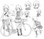 1girl :d >_< arm_up bangs bicycle bike_shorts blush chibi closed_eyes closed_mouth collared_shirt drawstring eyebrows_visible_through_hair greyscale ground_vehicle hair_ornament hair_scrunchie hairclip hood hood_down hooded_jacket jacket kneehighs loafers long_hair low_ponytail monochrome multiple_views open_mouth original pants pigeon-toed pleated_skirt ponytail red_ribbon ribbon school_uniform scrunchie sekira_ame shirt shoes shorts shorts_under_skirt skirt smile striped striped_shirt sweater_vest swept_bangs white_background