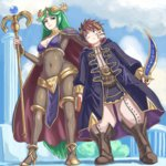 1boy 1girl absurdres boots breasts brown_hair cape cleavage cleavage_cutout cloak cosplay crossover day fire_emblem fire_emblem:_kakusei green_hair high_heels highres holding holding_sword holding_weapon kid_icarus my_unit_(fire_emblem:_kakusei) outdoors palutena pit_(kid_icarus) smile staff super_smash_bros. sword tharja tharja_(cosplay) weapon