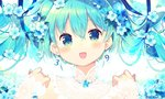 1girl 39 :d aqua_eyes aqua_hair bangs blue_flower blue_ribbon blush earrings floral_background flower hair_flower hair_ornament hair_ribbon hands_up hatsune_miku highres ikari_(aor3507) jewelry lace-trimmed_sleeves lace_trim long_hair looking_at_viewer necklace number_earrings open_mouth portrait ribbon smile solo sparkle twintails twitter_username vocaloid