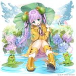 1girl 2017 :d animal_print aqua_eyes bangs bell black_ribbon blunt_bangs blush boots eyebrows_visible_through_hair floating_hair flower frog frog_print hair_bell hair_between_eyes hair_ornament hair_ribbon head_tilt highres holding hydrangea leaf_umbrella long_hair looking_at_viewer mullpull musical_note neck_ribbon open_mouth original pink_hair pink_shorts print_capelet raincoat ribbon rubber_boots shirt short_shorts shorts sitting smile solo thighhighs very_long_hair water white_background white_shirt yellow_capelet yellow_footwear