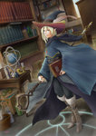 1boy androgynous aritani_mahoro blonde_hair blue_eyes book boots bottle candle candlestand commentary elf fantasy fur_trim globe hat hat_feather holding holding_staff magic_circle original pointy_ears robe solo staff wide_sleeves witch_hat