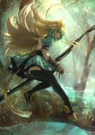 1girl animal_ears atalanta_(fate) backless_outfit black_panties blade blonde_hair bow_(weapon) cat_ears cat_tail day dress fate/apocrypha fate_(series) forest full_body gauntlets green_dress green_eyes green_hair highres holding holding_bow_(weapon) holding_weapon kaze_minoru_so-ru looking_back multicolored_hair nature open-back_dress open_mouth outdoors panties pixiv_fate/grand_order_contest_2 short_dress solo tail tree two-tone_hair underwear weapon