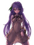 1girl chain cowboy_shot dress flower hair_flower hair_ornament legs_apart long_hair long_sleeves looking_at_viewer miata_(pixiv) naughty_face purple_eyes purple_hair see-through simple_background sketch smile solo standing touhou tsukumo_benben twintails very_long_hair white_background