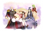 3boys 3girls aiguillette black_hair blonde_hair bow brown_hair c.c. cape charles_zi_britannia closed_eyes code_geass couch dress formal gift gloves green_hair hair_bow hair_ribbon happy hat hidari_ise lelouch_lamperouge long_hair marianne_vi_britannia multiple_boys multiple_girls nunnally_lamperouge open_mouth purple_eyes ribbon short_hair sitting smile twintails v.v. what_if yellow_eyes younger