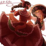 2girls alternate_costume alternate_hairstyle blonde_hair braid brown_hair commentary cross crucifix dancing dress eye_contact hair_ribbon hair_tubes hakurei_reimu hat hat_tip jewelry kirisame_marisa long_hair looking_at_another mariachi mefomefo mexican mexican_dress multiple_girls necklace ribbon sash shawl single_braid skirt_hold smile sombrero touhou yellow_eyes