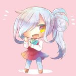 1girl asashimo_(kantai_collection) boots bow bowtie chibi cross-laced_footwear dress grey_hair grey_legwear hair_over_one_eye halterneck headband kantai_collection kouu_hiyoyo lace-up_boots long_hair long_sleeves lowres open_mouth pantyhose ponytail purple_legwear school_uniform sharp_teeth shirt silver_hair sleeveless sleeveless_dress smile teeth white_shirt