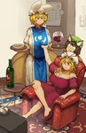 3girls :3 >:/ absurdres alcohol animal_ears annoyed arm_rest arm_up armchair bangs bare_arms bare_legs bare_shoulders barefoot blonde_hair bottle breast_grab breasts brown_hair cat_ears chair chanta_(ayatakaoisii) chen cleavage closed_mouth commentary crossed_legs cup dress drink drinking_glass extra_ears eyebrows_visible_through_hair food fox_tail frilled_sleeves frills full_body grabbing hands_up hat hat_ribbon highres holding holding_tray indoors jewelry knee_up light_smile long_hair looking_at_another looking_down medium_dress mob_cap multiple_girls multiple_tails off-shoulder_dress off_shoulder orange_eyes outstretched_arm pillow_hat plate red_eyes ribbon short_hair short_sleeves single_earring sitting slit_pupils standing tabard tail television touhou tray v-shaped_eyebrows white_dress white_pupils wine wine_bottle wine_glass yakumo_ran yakumo_yukari