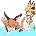 2girls :3 >_< ? animal_ear_fluff animal_ears animated arms_behind_head bikini blonde_hair caracal_(kemono_friends) caracal_ears caracal_tail chibi commentary extra_ears fang flailing flower hair_flower hair_ornament jewelry kemono_friends mp4 multiple_girls necklace one-piece_swimsuit orange_hair print_bikini red_swimsuit seashell_necklace serval_(kemono_friends) serval_ears serval_print serval_tail short_hair short_ponytail splashing swimming swimsuit tail taro_(taro) wading water
