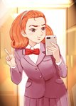1girl 60s attack_no_1 cellphone closed_mouth commentary_request coupy_pencil_(medium) forehead hayakawa_midori highres lafolie long_hair mirror oldschool phone reflection self_shot skirt smile solo taking_picture v