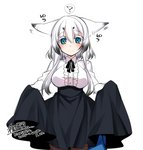 1girl animal_ears black_neckwear black_ribbon blue_eyes blue_skirt blush breasts brown_legwear closed_mouth collared_shirt commentary_request dated ear_wiggle ears_down eyebrows_visible_through_hair fox_ears hair_between_eyes konshin large_breasts looking_at_viewer neck_ribbon original pantyhose ribbon shirt signature simple_background skirt skirt_hold skirt_lift slit_pupils smile solo tail white_background white_shirt