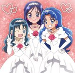 3girls :d blue_eyes blue_hair blush color_connection commentary_request dokidoki!_precure dress earrings grin hairband hands_on_hips heart heart_earrings heartcatch_precure! hishikawa_rikka jewelry kirakira_precure_a_la_mode kurumi_erika lipstick long_hair looking_at_viewer makeup multiple_girls onomekaman open_mouth pink_background precure purple_eyes purple_hair smile tategami_aoi v_arms wedding_dress