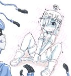 1boy 1girl bangs blush boots character_name character_request closed_eyes collared_jacket commentary_request eyebrows_visible_through_hair flat_cap genderswap genderswap_(mtf) gloves greenteaneko hair_over_one_eye hat hataraku_saibou highres holding holding_knife honeycomb_(pattern) jacket knife licking_lips nose_blush parted_lips short_shorts short_sleeves shorts sketch spread_legs sweat thighhighs thighhighs_under_boots tongue tongue_out u-1146 v_arms white_footwear white_hat white_jacket white_legwear white_shorts white_skin