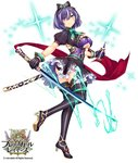 1girl bottle brave_girl_ravens breasts copyright_name dress frills full_body gloves glowing glowing_weapon green_eyes hairband heterochromia holding holding_weapon horosuke_(toot08) juliet_sleeves katana large_breasts logo long_sleeves looking_at_viewer looking_back official_art panties puffy_sleeves purple_eyes purple_hair ribbon sheath short_dress short_hair short_sleeves simple_background skirt smile solo sparkle standing sword thighhighs underwear weapon zettai_ryouiki