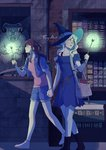 2girls artist_name bag book bookshelf commentary diana_cavendish gargoyle handbag hat highres holding_hands kagari_atsuko library little_witch_academia multiple_girls older shorts silk spider_web ticcy wand witch_hat