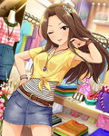 1girl artist_request belt bracelet brown_eyes brown_hair clothes_hanger clothes_rack crop_top denim_skirt front-tie_top hand_on_hip idolmaster idolmaster_cinderella_girls jewelry komuro_chinami long_hair looking_at_viewer official_art one_eye_closed parted_lips shopping tied_shirt